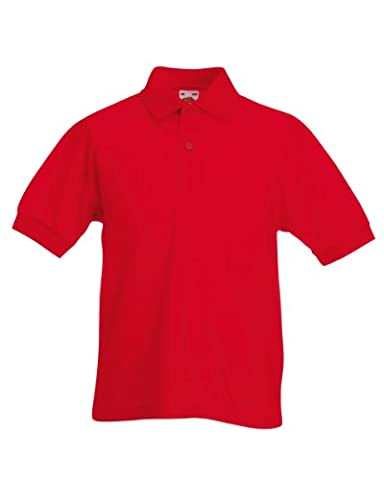 Fruit of the Loom - Polo Enfant Unisexe - 12 Couleurs - 12-13 Ans, Rouge
