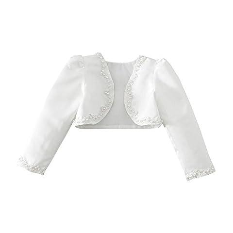 Tiaobug Kinder Mädchen Langarm Bolero Strickjacke Weiß festlich Schulterjacke Bauchfreie Perle Jacke Taufe Kommunion Hochzeit Gr. 92-140 Weiß 98-104 (Herstellergröße: