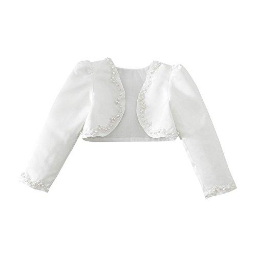 Tiaobug Kinder Mädchen Langarm Bolero Strickjacke Weiß festlich  Schulterjacke Bauchfreie Perle Jacke Taufe Kommunion Hochzeit Gr. 92-140  Weiß 110-116 ... 7e19b33455