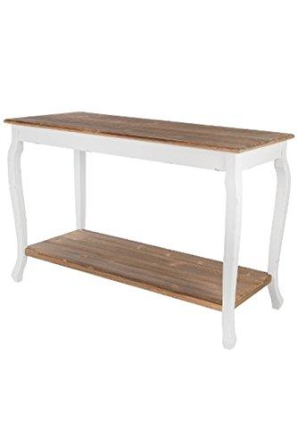 elbmöbel Konsole Sekretär weiß Braun Antik Landhaus Schublade Beige Massiv Holz Tisch (120 x 50 x...