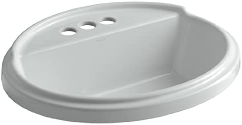 Kohler K-2992-4-95 Tresham Oval Shaped Self-Rimming Lavatory with 4-Inch Centerset Faucet Drilling, Iced
