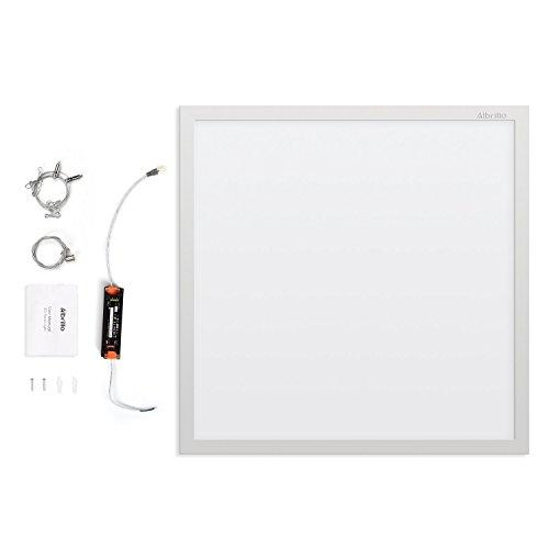 Albrillo 3420lm Super helle LED Panel Deckenlampe 60x60cm - Kaltweiß 6500K Deckenleuchte inkl. einstellbare Seilaufhängung und Trafo, Ultraslim 36W Deckenpanel für Büro, Keller, Badezimmer, Weiß