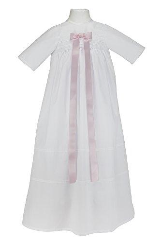 """Bateo Design Taufkleid """"Simon"""" mit rosa Schleife - festliche Taufbekleidung für Mädchen und Jungen geeignet, aus 100 % Baumwolle gefertigt. Unisex, Größe 68"""