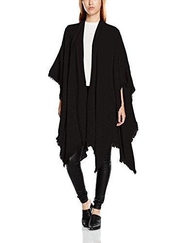 VERO MODA Damen Vmasta Poncho Noos, Schwarz (Black Detail:Solid), One Size (Muster Kimono-pullover)