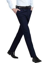 BOZEVON Pantalones de Traje de Hombre - Pantalones Formales de Negocios  Rectos Ajustados Delgado Flojos 91e2709000b2