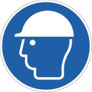 Schild Kopfschutz benutzen 31,5cm Ø Alu -
