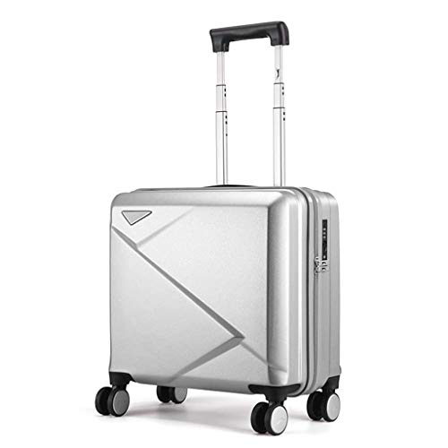 Mhjmijb Ultralight Business Trolley Fall, PC + ABS Convenient Trolley Silent Universal-Rad-Koffer, 40 × 23,5 × 43,5 cm (Color : Silver)