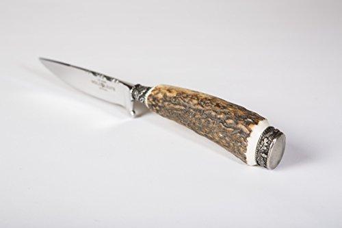 Holz-Leute Trachtenmesser, geschmiedete Klinge aus Solingen, hochglänzend poliert, echtem Hirschhorn, inklusive Lederscheide (Hirschhorn Lederscheide)