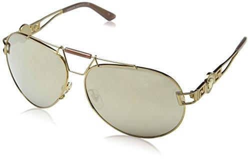Versace 0ve2160 13485a 63, occhiali da sole donna, oro (bronze/lightbrownmirrordarkgold), taglia unica (taglia produttore: one size)
