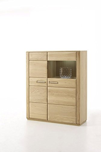 Dreams4Home Highboard massiv 'Yascha II' Eiche Bianco Massivholz Kombi-Highboard Anrichte Schrank...