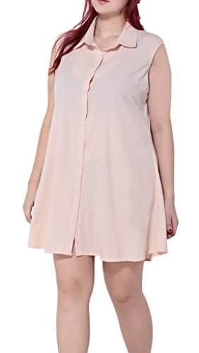 Smile YKK Femme Plus Size Robe Comfortabler Chemise Chiffon Moulante Grosse Taille Uni Beige Beige