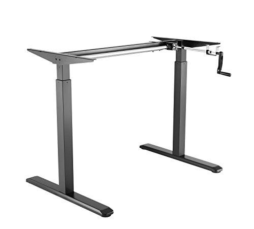 EXETA höhenverstellbarer Schreibtisch/Computertisch (Version 2018) manuell mit Eleganter Kurbel, höhenverstellbares Tischgestell - Passend für Alle gängigen Tischplatten Schwarz