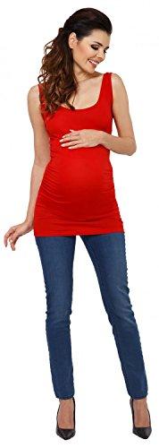 Zeta Ville - Maternité Top sans manches tunique col rond profond - femme - 792c Rouge