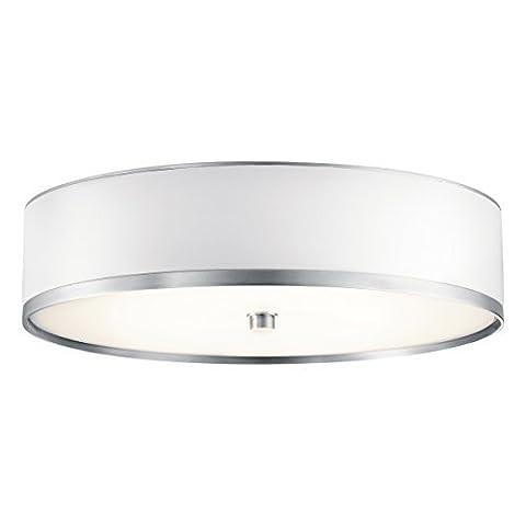 10804BA Pira 1LT CFL Flush Mount, Brushed Aluminum Finish with White Vinyl Shade by Kichler