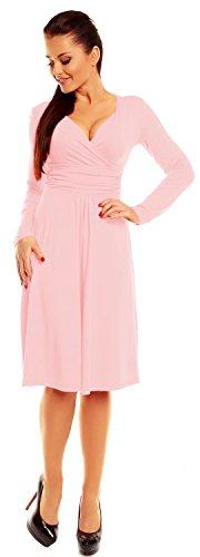 Zeta Ville - Robe patineuse - manches longues - robe de cocktail - femme - 890z Poudre Rose