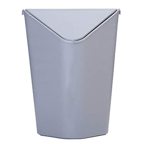 WDDLD Desktop-Mülleimer Kunststoff-Papierkorb Kreative Flip-Top-Mini-Schreibtisch Mit Deckel Eimer Gray - Flip-top-schreibtisch