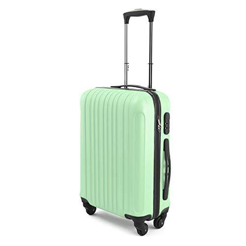 """Travelzone® Trolley da Cabina Bagaglio a Mano SAMMY 20"""", Capienza 43 Litri, 55 x 35 x 20 cm, Ideale a bordo di EasyJet Ryanair Alitalia Etc, Trolley Rigido in ABS e Policarbonato Leggero, (Verde)"""