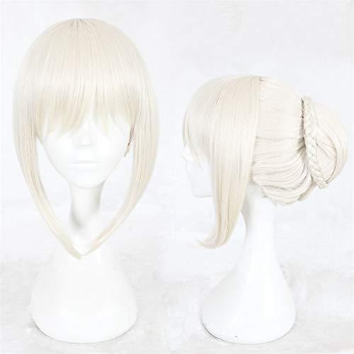 le Blonde Halloween Cosplay Anime Perücke mit Hochsteckfrisur Haarknoten ()