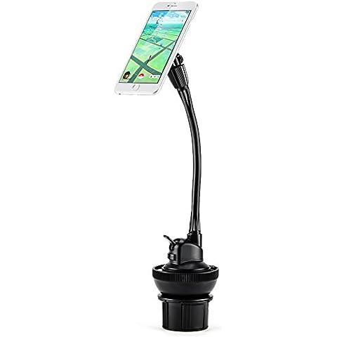 iKross–Soporte de coche móvil Copa/Gel Pad salpicadero parabrisas soporte, ajustable cierre magnético Soporte para coche para Apple Iphone, Smartphones Android, GPS, Sat Nav, o reproductores de MP3, color negro