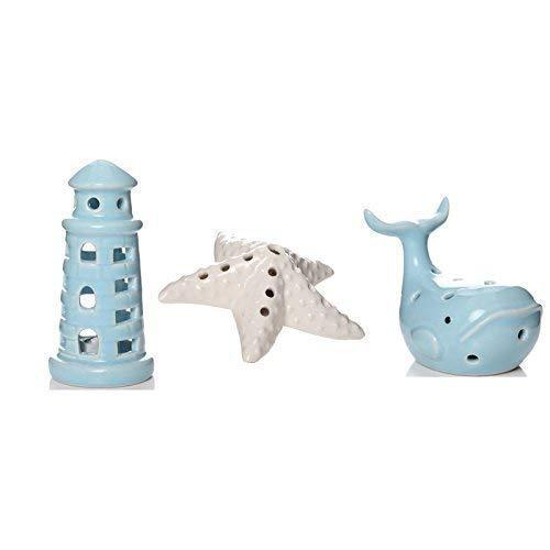 Shruti Designs Ensemble de 3 LED Phare Étoile de Mer Whale Nautique Ornements Salle de Bain Plage Caravane