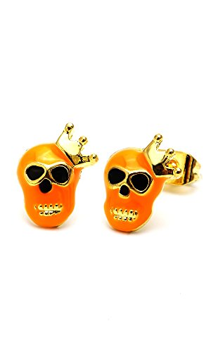 Chic-Net Brass Boucles d'oreille tête de mort Couronne Or 10mm Multicolore émail sans Nickel laiton Orange