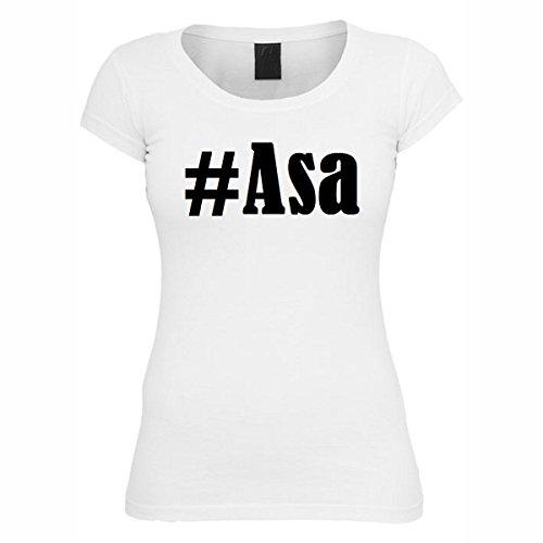 T-Shirt #Asa Hashtag Raute für Damen Herren und Kinder ... in den Farben Schwarz und Weiss Weiß