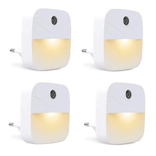 4 Stück LED Nachtlicht, KWOKWEI Orientierungslicht mit Dämmerungssensor, Warmweiß Steckdosenlicht mit Lichtsensor, 0.4 W Automatisch Steckdose Nachtlichter Leuchte für Schlafzimmer Kinderzimmer Küche