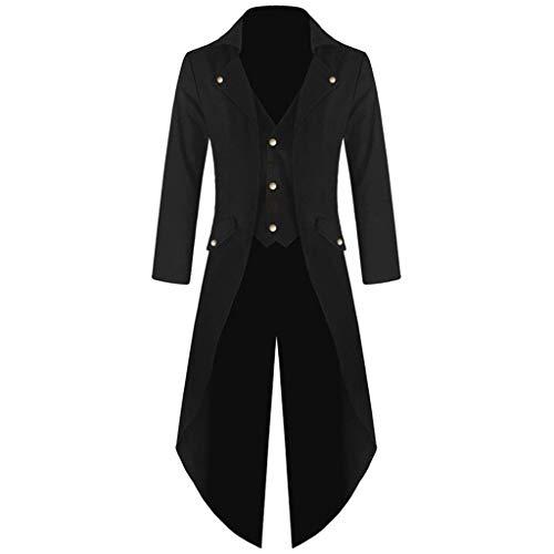 Writtian Herren Frack Mantel Steampunk Gothic Jacke Vintage Viktorianischen Cosplay Kostüm Smoking Jacke Uniform Mittelalter Kleidung Weste Jacke Waistcoat Waffenrock Halloween Trenchcoat