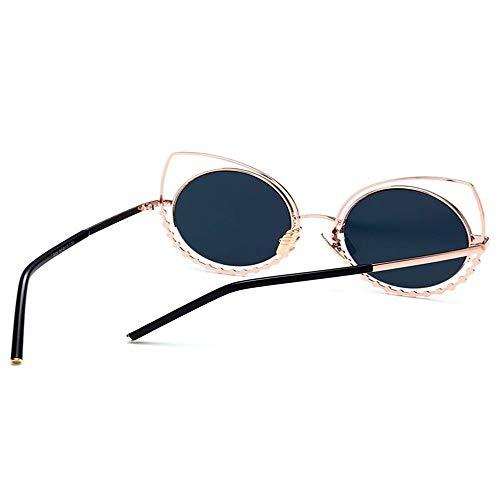 Draussen Metall Strass Cat Eye Sonnenbrille kleine ovale Sonnenbrille, Mini Vintage stilvolle runde Brille HD für Männer Frauen Mädchen schwarzer Rahmen grau Objektiv ( Color : GLOD BLACK , Size : M )