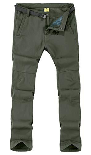 TBMPOY Herren Outdoor Quick Dry Leicht Wasserdicht Wandern Mountain Hose mit Gürtel, Herren, 01 Thick ArmyGreen, Large (Moving Comfort Hose)