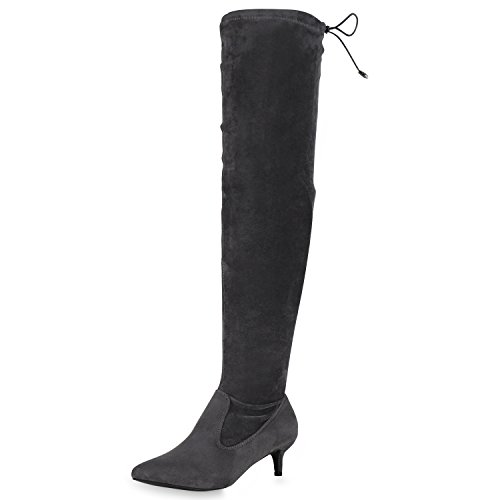 SCARPE VITA Damen Overknees Stiefel Stilettos Kitten Heels Gefütterte Schuhe 165549 Grau 37