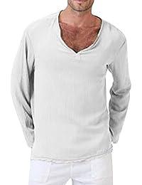 0978803cdf JiaMeng Top a Manica Lunga da Uomo Camicia di Lino del Cotone di Colore  Solido a Maniche Lunghe T-Shirt V-Neck Beach Camicetta Superiore…
