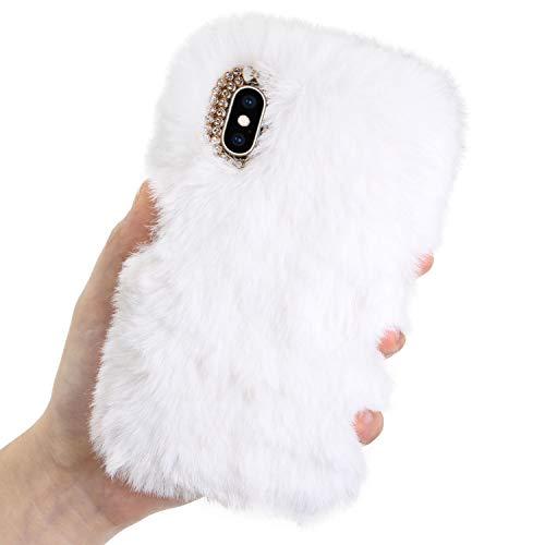 LCHDA kompatibel mit Plüsch Hülle Samsung Galaxy S8 Flauschige Hasen Fell Hülle Handyhülle Warm Weich Kaninchen Pelz Niedlich Hase Handytasche Schützend Stoßfest TPU Silikonhülle-Weiß -