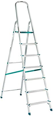 Amazon Brand -  Solimo 7-Step Foldable Aluminum Ladder, rust proof and certified by European Standard EN 131