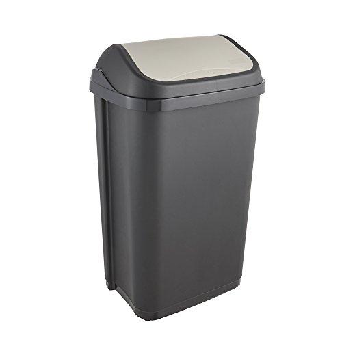 keeeper Abfallbehälter mit Schwingdeckel, 50 l, Swantje, Graphit Grau
