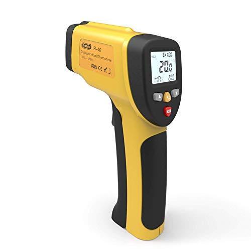Termometro a Infrarossi, Dr.meter Termometro Laser Digitale Pistola Infrarossi Range da -50°C a 650°C, LCD Retroilluminato, Batteria Inclusa