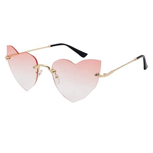 Sonnenbrille Mode Polarisiert UV-Schutz Herz Rahme Gläser Elegante Damen Spiegel Outdoor Brille Verspiegelt PPangUDing Retro Vintage Design Classic Original Sport (Eine Größe, Rosa)