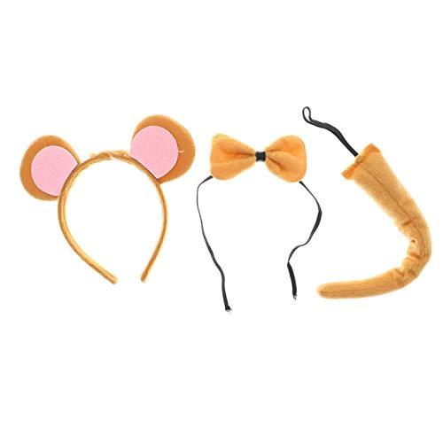 dryujdytru Brilliant 3Pcs Satz Kinder Performance Kinder Tier Satz Kopfband Kragen und Schwanz Cartoon Kuh Hase Tiger AFFE Hund Party Kostüm in Feinem Stil - - Tiger Kostüm Für Den Hunde