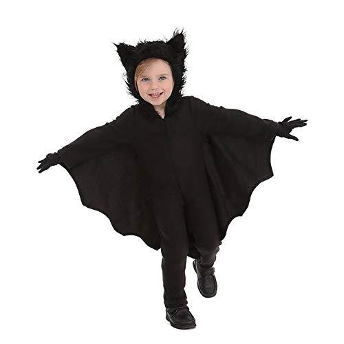Halloween Fledermaus Onesies, Geist Tanz Herren und Damen Anzüge, Nachtkleidung, Nacht Stadt Party, Polyester-Material, Schwarz,Childrenxl