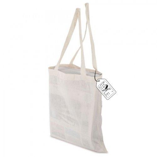 My Custom Style® Shopper in cotone naturale di colore beige manici lunghi di qualità My Custom Style ideale per pittura o per stampe digitali formato borsa 38x42cm.