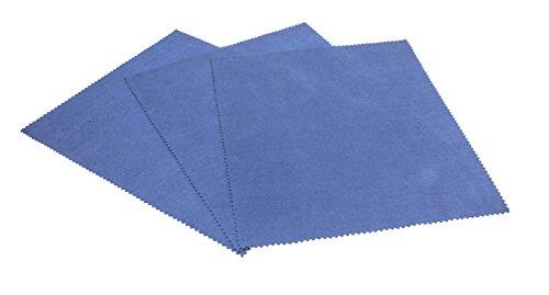 Edison&King - Panno per pulizia occhiali in diversi colori con taglio a zig zag, in microfibra, qualità premium, adatto anche per display, confezione da 3 pezzi - blu