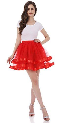 Tsygirls 50er Vintage Retro Ballettrock Unterrock Kurz Tutu Röcke Unterrock Unterrock Pettiskirt Petticoat Rot