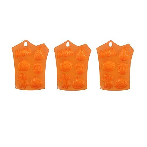 GOOTRADES 3 Stücke Schokoladenform, 23x16.5cm Kreativ Silikon Halloween Kürbis Fondant Mold Backform Muffinform Eiswürfel Pralinenform Für Schokolade Süßigkeiten Kuchen Pudding Orange