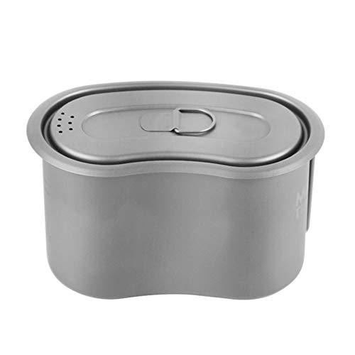 Tentock Conteneur de Nourriture en Plein Air Légère 950ml - Boîte à Lunch Militaire en Titane avec Poignée et Couvercle Rabattables