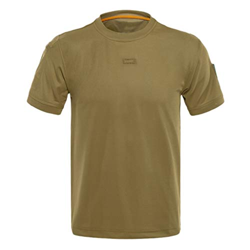 T Shirt for Men Loose Tactical Short Sleeve Casual Summer Tops Elastic Quick Dry Training Shirts Tops Blouses,Brown