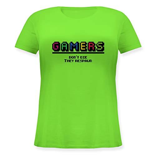 Nerds & Geeks - Gamers Don't die They Respawn Pixel - L (48) - Hellgrün - JHK601 - Lockeres Damen-Shirt in großen Größen mit Rundhalsausschnitt