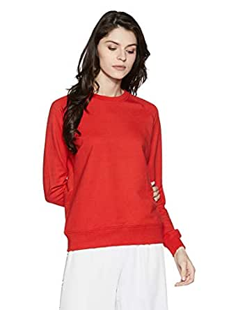 Amazon Brand - Symbol Women's Sweatshirt (AW18WNSSW01B_Fire Red_Small)