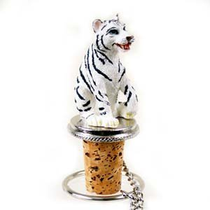 Tiger Bottle Stopper (White) by Conversation Concepts