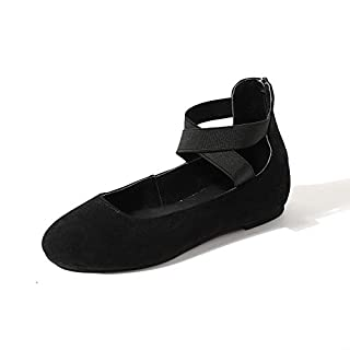 HAINE Women's Casual Closed Toe Ballet Flats Black Size 5.5 UK