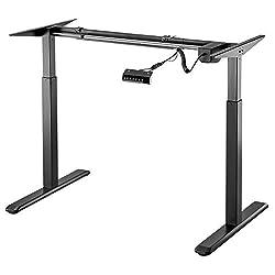 Exeta ergoEASY Elektrisch höhenverstellbarer Schreibtisch (Vers. 2020), 2-fach-Teleskop,Memory-Funkt. und Softstart/-Stopp, elektrisch höhenverstellbares Tischgestell schwarz -für gängige Tischplatten